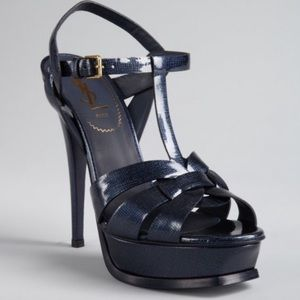 Navy blue patent leather ysl tribute pumps sandals
